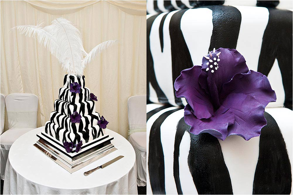 A very stylish black and white wedding cake