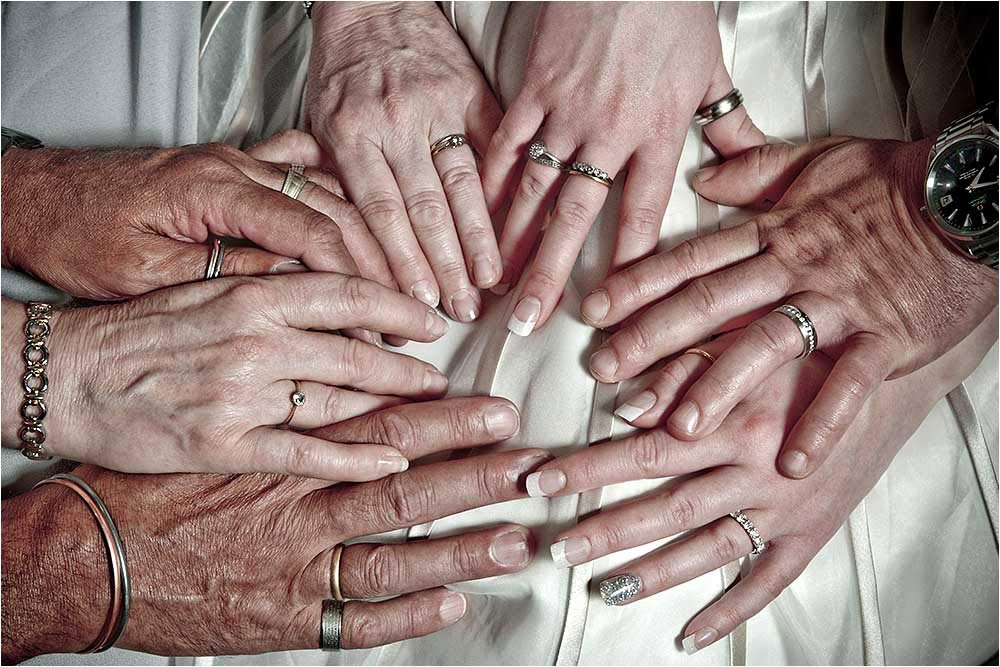 Unusual image of lots of hands all together