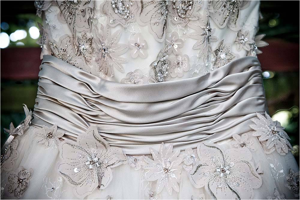 Detail photograph of the wedding dress waistband