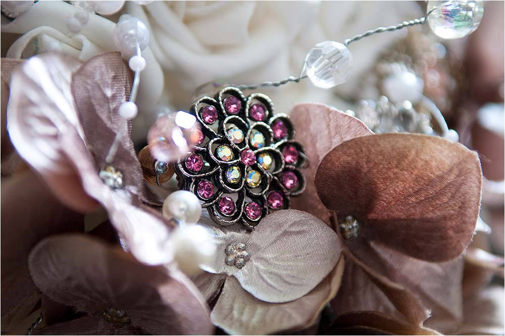 Closeup of a pink jewelled hair grip