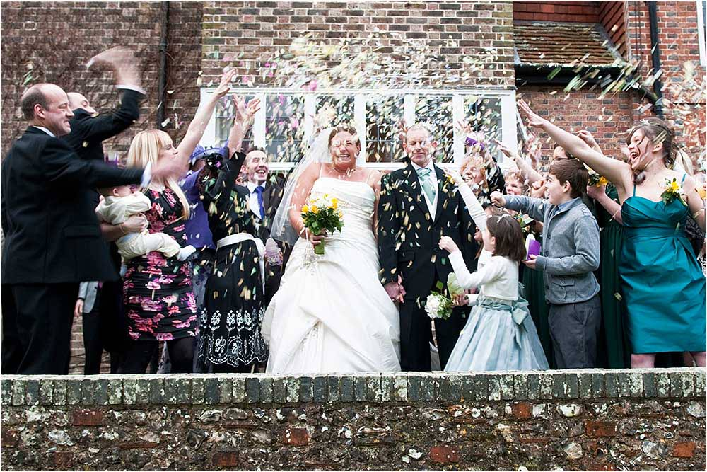 Covered in a storm of confetti on the terrace at Deans Place