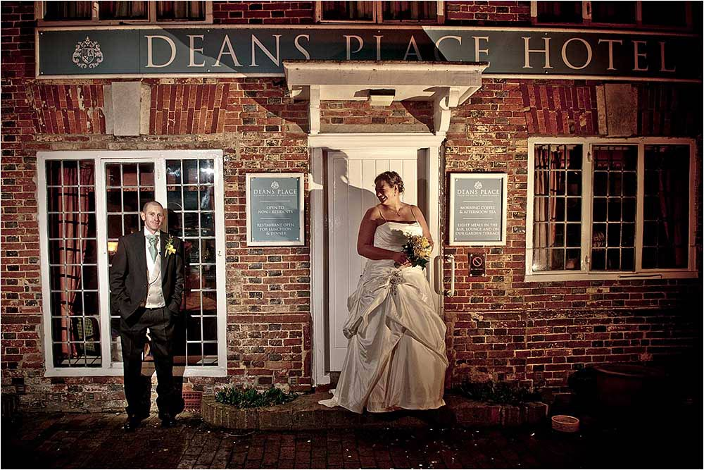 Lorna and Graham in front of Deans place at night