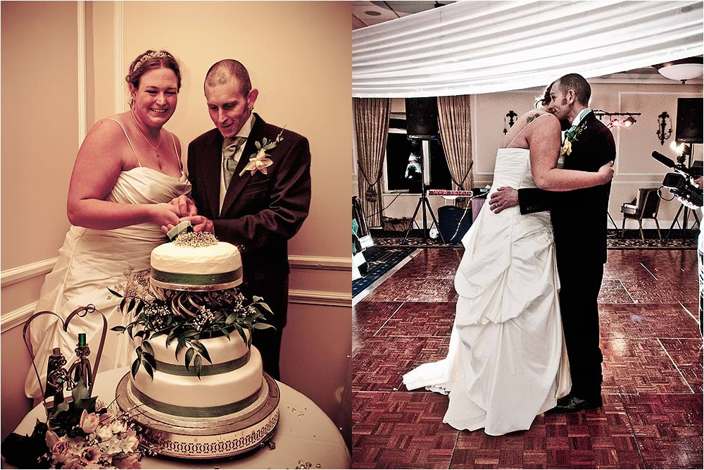 Lorna and Graham cut their wedding cake and then have their first dance