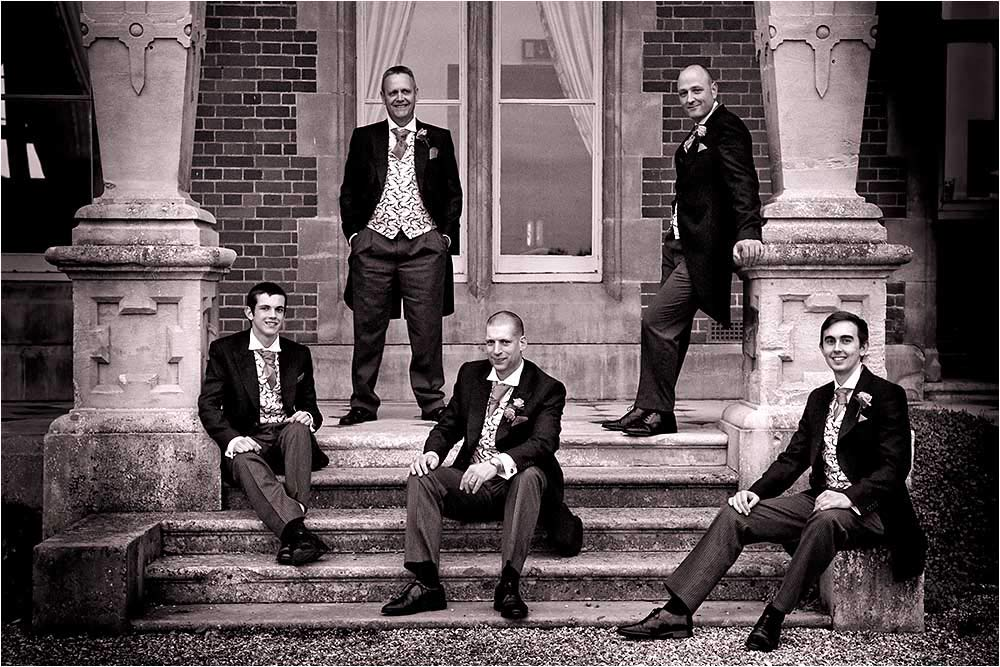 The groomsmen on the terrace at Easthampstead Park