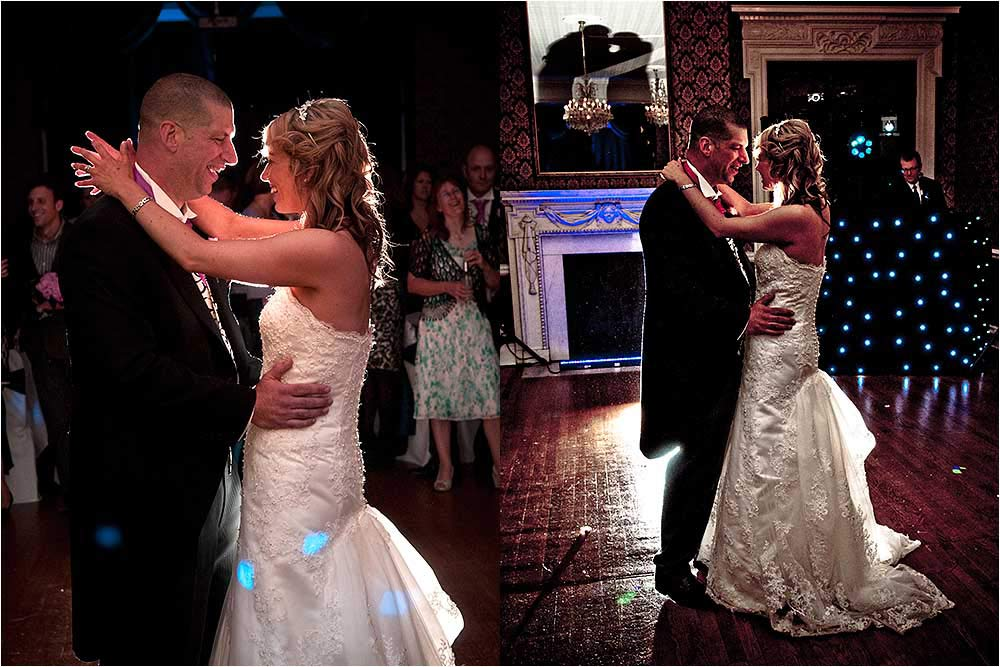 The bride and groom having their first dance