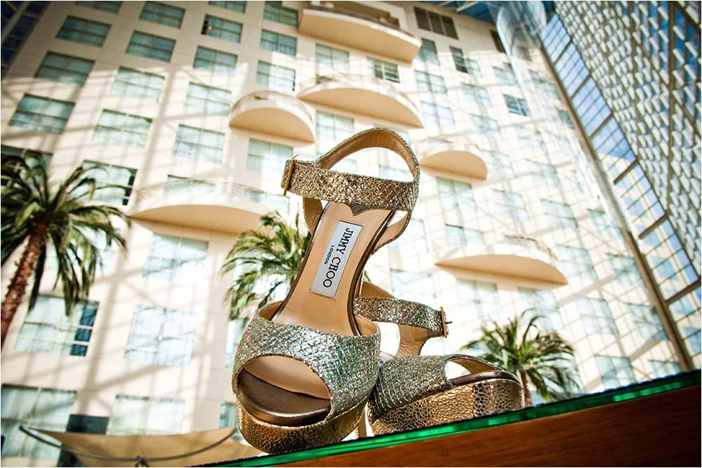 A pair of Jimmy Choo shoes in the Hyatt Regency Anaheim