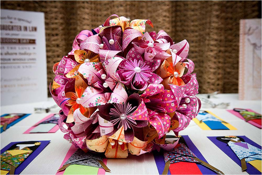 A beautiful pink paper bridal bouquet