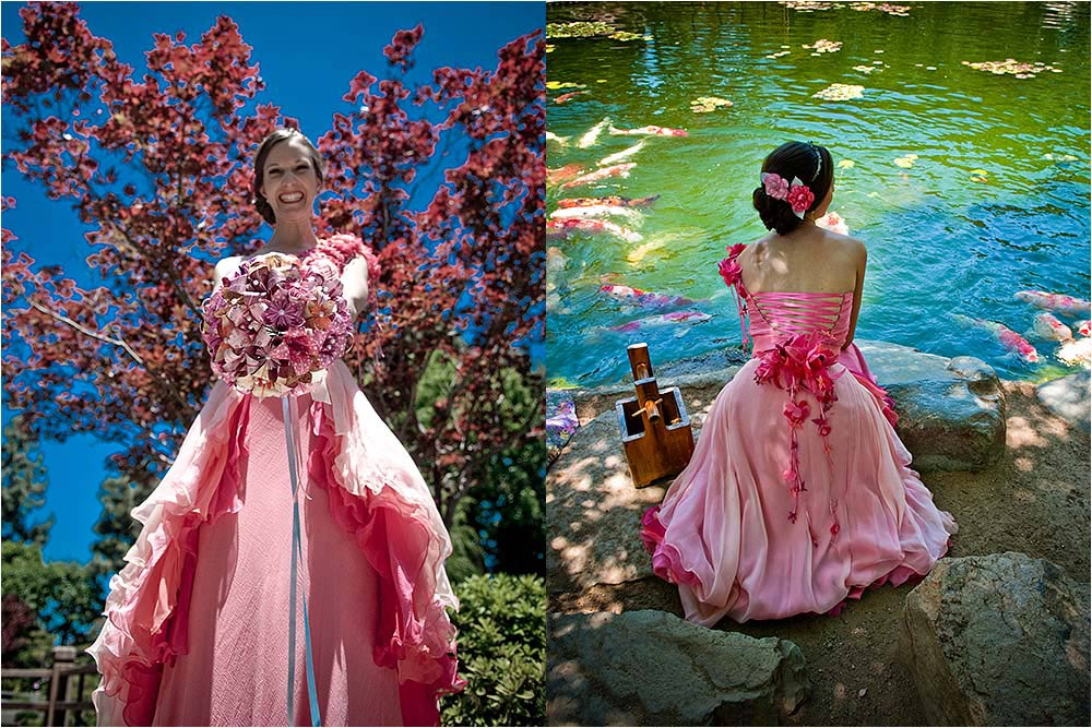 Front and back views of he stunning pink wedding dress by Federica Bruno Couture