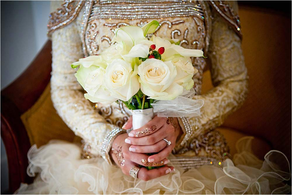 Short depth of field photograph of the bridal bouquet