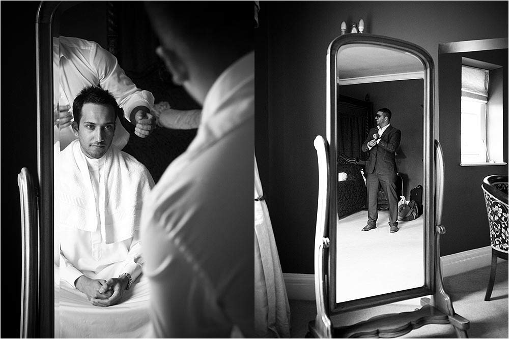 Black and white image of the bridegroom getting ready