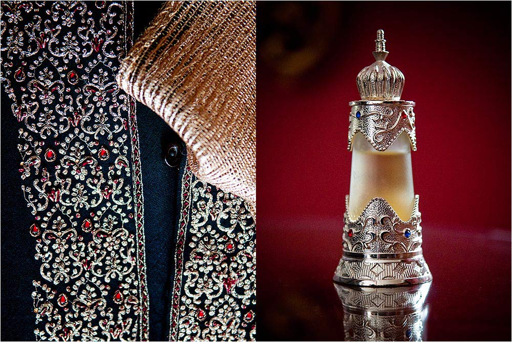 Details of an ornate scent bottle and a mans jacket