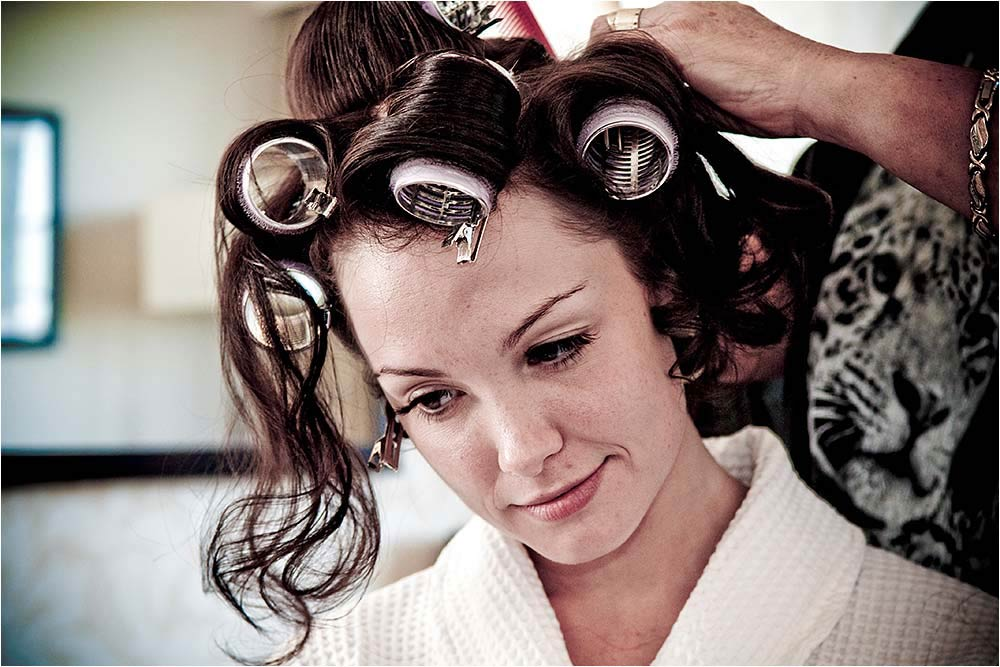 Bride with her hair in curlers